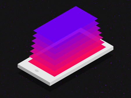 mobile application: isometric mobile application concept in flat colors Illustration