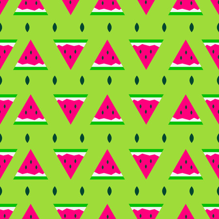 lite food: Vector seamless pattern with sliced watermelon in summer cute style Illustration