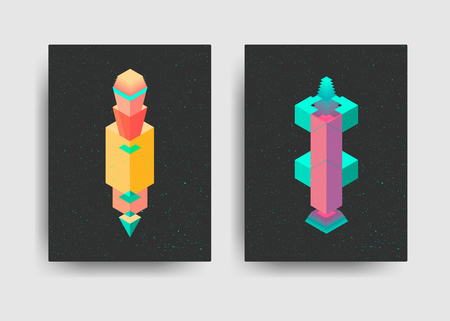 applicable: Set of Abstract Cards with Isometric. Applicable for Covers, Placards, Posters, Flyers and Banner Designs.