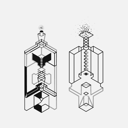 Isometric abstract geometry design elements