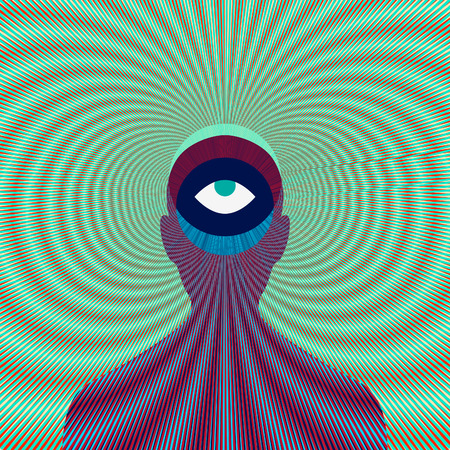 Psychedelic magic man with eye