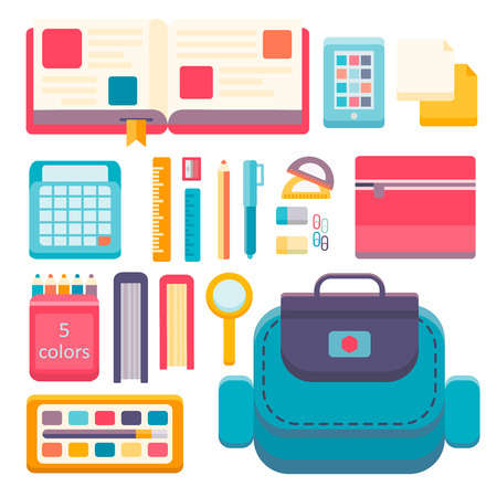 schoolbook: Back to school flat design modern vector illustration background with education icon set. School supplies : schoolbook, notebook, pen, pencil, paints, stationary school bag etc. Illustration