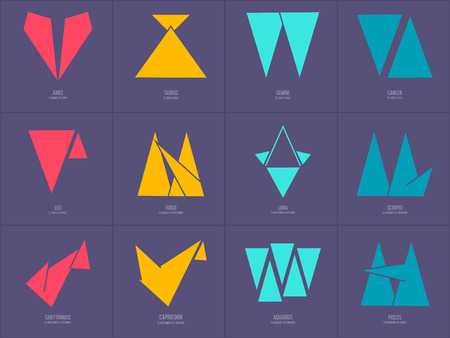Zodiac icons.Geometric style vector set