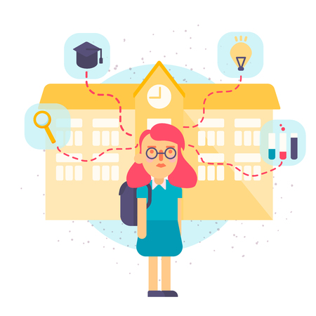 hillside: Illustration of a schoolgirl with school building. Flat style vector illustration isolated on white background.
