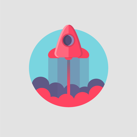 Rocket ship in a flat style.Vector illustration with flying rocket.Space travel to the moon.Space rocket launch.Project start up and development process.Innovation product,creative idea.Management.