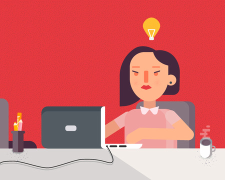 Cool vector flat character design on business woman working in office behind her desk with desktop computer and coffee in cup | Business woman using computer
