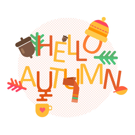 Hello autumn concept vector background with autumn icons 向量圖像