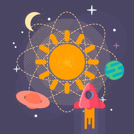 globular: Solar System Planets - Vector Illustration of the solar system planets. Planets in space.Background. Banner. Poster.