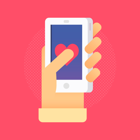 Hand with phone vector illustration in flat style. Mans hand holding a phone concept. Smartphone in hand isolated on background.