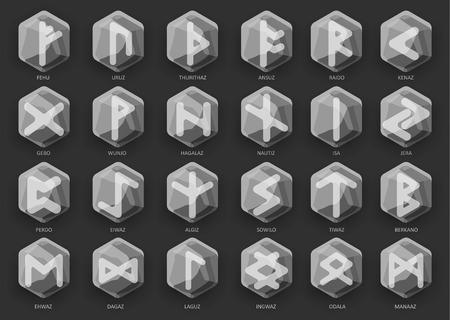 numerology: Set of stone runes. Vector illustration