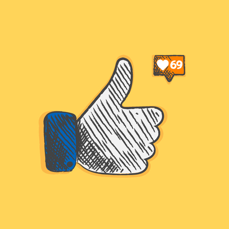 Thumbs up sketch icon for web and mobile. Hand drawn vector dark grey icon on background.