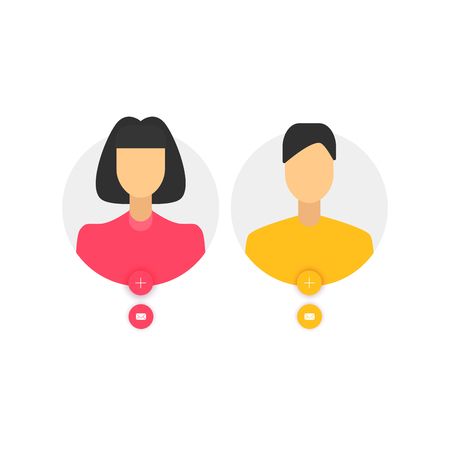 Man and woman avatar, flat design people
