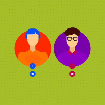 Vector set of different male and female icons in trendy flat style. Flat people faces icon