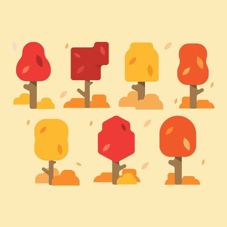 Collection Of Autumn Trees, Isolated On White Background. Simple collection of autumn trees of different shapes. Vector illustration.