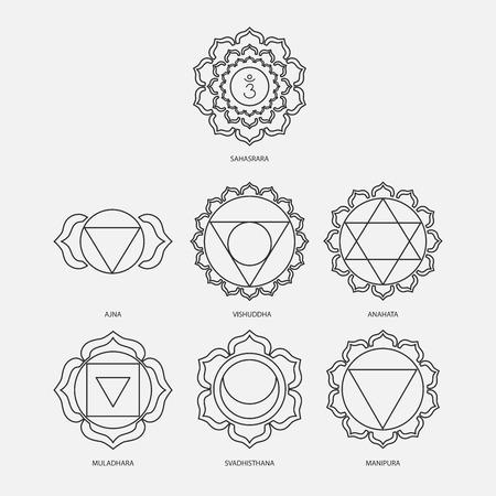 The seven chakras with bija mantras vector set style black on the white background. Linear character illustration of Hinduism and Buddhism. For design, associated with yoga and India.