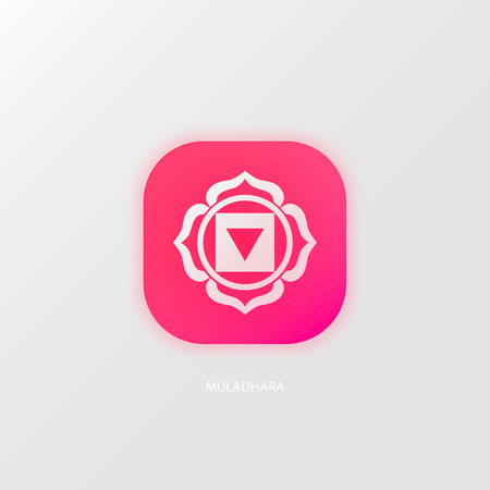 muladhara: Chakra Muladhara or root chakra icon, ayurvedic symbol, concept of Hinduism, Buddhism. Watercolor cosmic texture. Vector isolated on white background