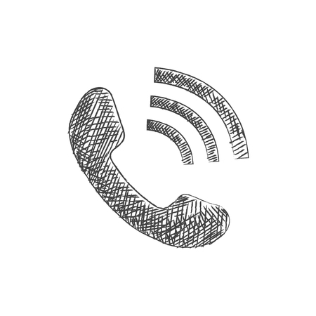 troubleshooting: Hand drawn phone sketch icon Illustration