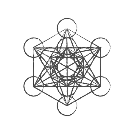 Metatrons Cube. Flower of life. Vector Geometric Symbol isolated. Sacred Geometric Figure named Metatrons Cube. Holy Glyph. Metatrons Cube isolated holy sacred symbol.