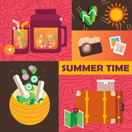 Vector summer day elements set.