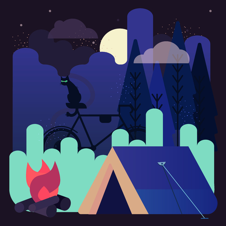 Night camping with one glowing tent under the stars in a scenic place of wild nature with black cat and silhouette of dark forest