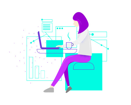 Woman at the desk is working on the laptop computer. Vector illustration in flat style