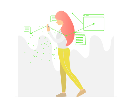 Young beautiful woman walking and looking at her smartphone, vector illustration
