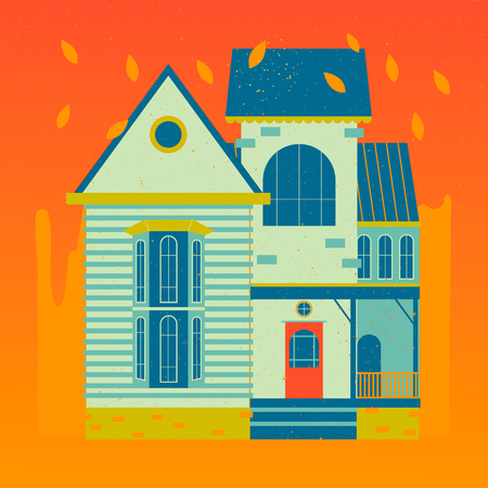 Vector illustration of an autumn old house