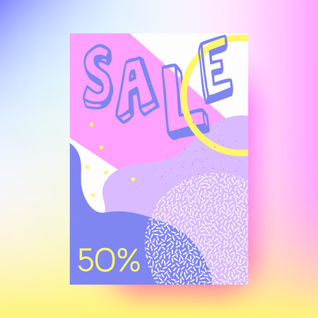 Abstract sale banner, geometric background.Memphis style. Bright and colorful, 90s style. Vector illustration. Neon colors Ilustracja