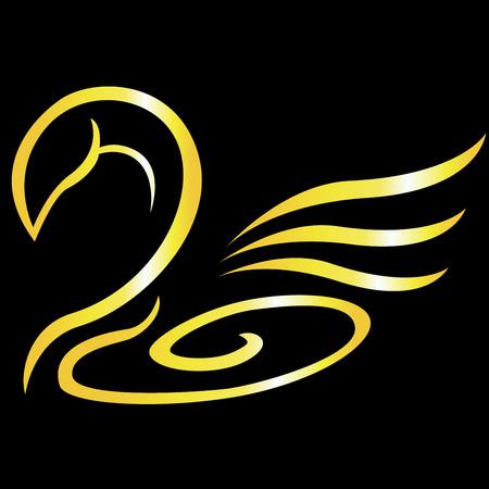 Abstract gold swan logo
