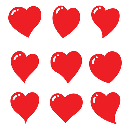 Red heart icons set - vector and illustration
