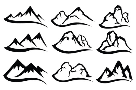 Mountain logo set with rivers flowing from vector. Banco de Imagens - 126261076