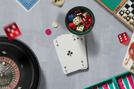 Classic game elements such as cards, dice, chess and backgammon