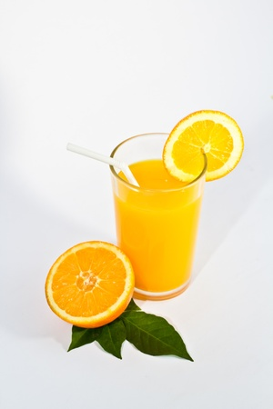 Orange juice in white background photo