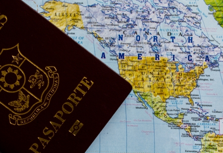 Passport   world map for stock photo