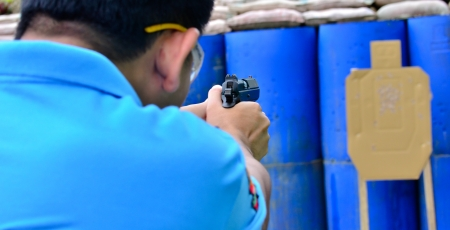 Asian police shooting practice