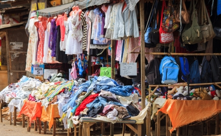 smuggling: Valencia City, Philippines- November 4, 2012: Used clothing for sale in the public market locally known as Ukay-Ukay Editorial