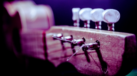 pegheads: Wooden guitar headstock Stock Photo