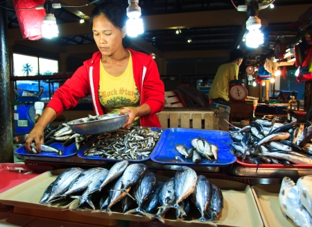 Maramag, Bukidnon - December 28, 2012: Local fish vendor displays fresh catched fish inside the market during early morning. Stock Photo - 17055610