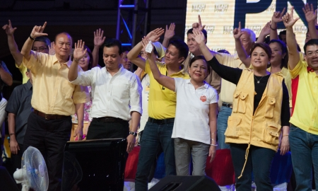 liberal: February 12, 2013: First day of the 90 days election period where 12 senatorial candidates under LP's (Liberal Party) Team PNoy showed up during proclamation rally in Plaza Miranda in Manila headed by the countries President.