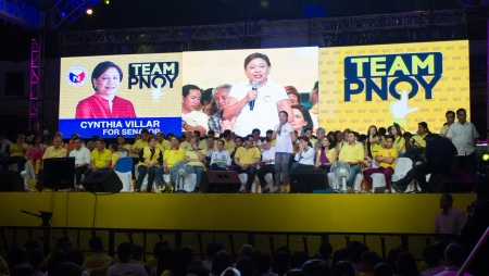 lps: February 12, 2013: First day of the 90 days election period where 12 senatorial candidates under LP's (Liberal Party) Team PNoy showed up during proclamation rally in Plaza Miranda in Manila headed by the countries President.
