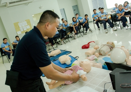 CAMP CRAME, QUEZON CITY- April 10, 2013: Police participants during 6th tactical nurse training program held in Philippine National Police- Training Service, Manila