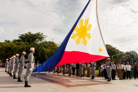 philippine: Luneta Park, Philippines -June 12, 2013: Philippines Vice President Jejomar Binay lead flag-raising ceremonies marking the 115th Independence Day of the country from the colonial rule of spain since 1898 in Cavite, Philippines.