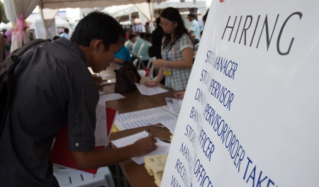 seekers: Qurino Grandstand, Manila- June 14, 2013:Job seekers during 115th Philippines Independence  day job fair.The Philippines  jobless rate unchanged even though the nation has the fastest-growing economy in Asia. Editorial