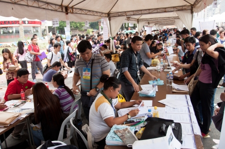 seeker: Qurino Grandstand, Manila- June 14, 2013:Job seekers during 115th Philippines Independence  day job fair.The Philippines  jobless rate unchanged even though the nation has the fastest-growing economy in Asia. Editorial