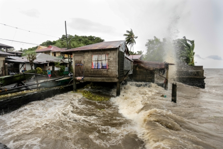 calamity: Laguna de bay, Philippines - November 8, 2013  Typhoon Haiyan s, an equivalent category 5 hurricane, endangering 25 million Filipinos in its path as it unleashed its fury  The hurricane is one of the biggest to ever hit land according to scientists