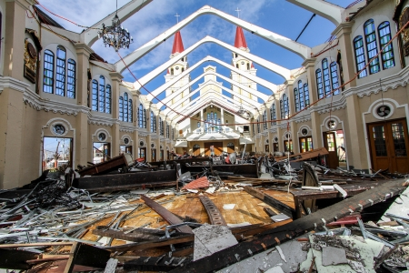 remains: Palo, Leyte-November 17,2013  Remains of Palo catholic church after devastated by typhoon Haiyan  Yolanda  in the Philippines