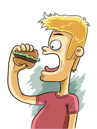 eating fast food: Hombre comiendo hamburguesa Vectores