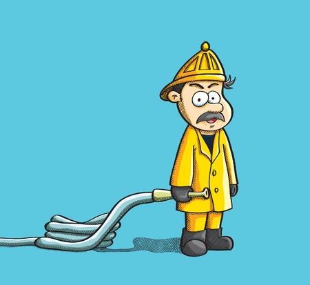 Fireman Holding Hose Vector