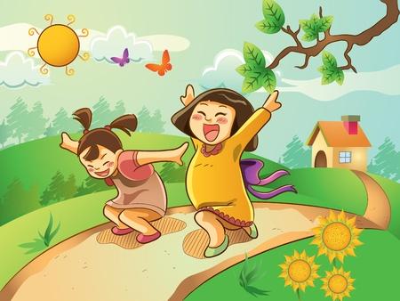 kids artwork: Kids Playing On The Garden