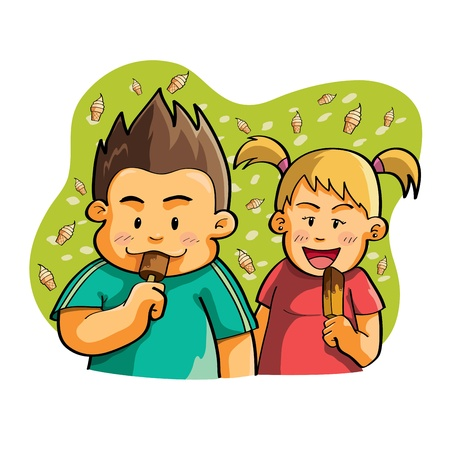Kids Eat Ice Cream Vector